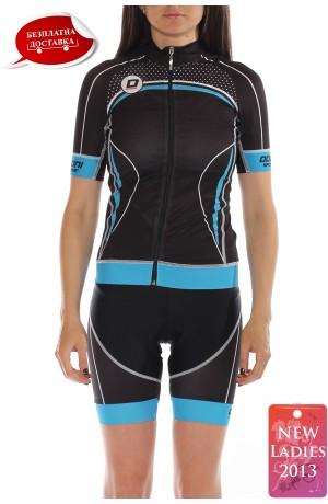 Costum ciclism dama Doltcini Woman Blue Pro Set